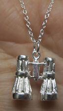 "Sterling Silver Birder's Birdwatching Binoculars Pendant Necklace on 18"" Chain"