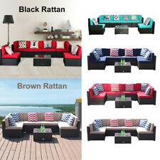 7 PC Patio Rattan Sofa Set Wicker Chair Sectional Cushioned Furniture Outdoor