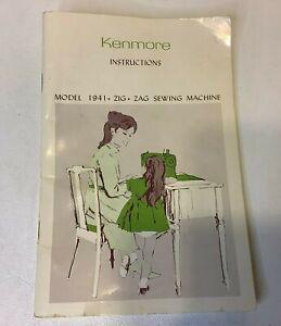 Original Kenmore Model 1941 Zig Zag Sewing Machine Instructions Manual Book