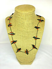 Fetish Onyx and Coral Crow and Bead Necklace