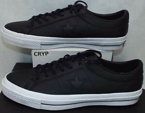 New Mens 11 Converse One Star Leather OX Black White Shoes $90 153714C