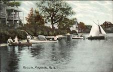 Monponset Ma Boating West Lake c1910 Postcard