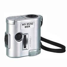 Mini 60X Pocket Microscope Jewelry Magnifier Loupe Glass LED UV UL Light