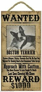 """Wanted Western Poster Style Boston Terrier Funny Dog Pet Sign Plaque 5""""x10"""""""