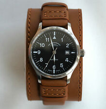 Genuine Leather Watch Cuff Strap Band for Muhle Glashutte brown 18mm / Armband
