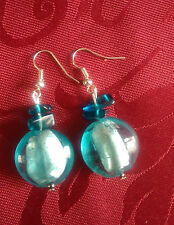 Lampwork drop dangle, silver plated earrings, blue 20mm bead with chips (345)