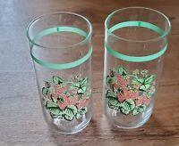 Strawberry Leaf & Vines Drinking Glasses Retro Vintage Set of 2