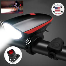 USB Rechargeable Mountain Bike Lights Bicycle Torch Horn Front & Rear Lamp Set
