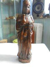 St Damien et son Louzou grande statue bois 36 cm de haut complète et très bel ét