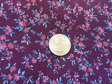 "Vintage Fabric Purple Burgundy with dark green Floral pattern 2 yds x 44"""