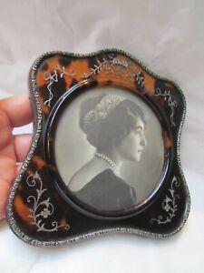 Fine Antique Tortoiseshell Photograph Frame Silver Pique Convex Glass 1900's