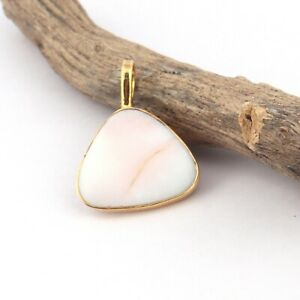Fancy Shape Natural Pink Opal Yellow Gold Plated DIY Necklace Handmade Pendant