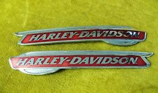 Harley Davidson Red & Chrome Tank Emblems Set of 2