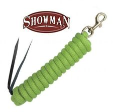 Lime Green 14' Nylon Pro Braid Training Lead w/ Brass Snaps by Showman! New Tack