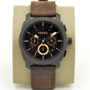 New Fossil Machine Chronograph Brown Dial Men's Wrist Watch FS4656 42mm