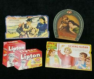 4 LOT Vintage Sewing Needle Books 1940s Era Advertising Quilting & More Hand Sew