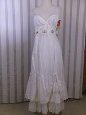 Kosmika White Long  Dress Small  embroidered Multi layered bottom hem BOHO