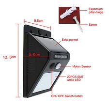 20 LED energía solar Sensor de movimiento pared luz jardín lámpara impermeable
