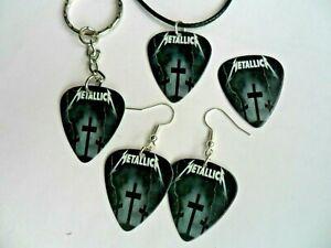 Neuf Metallica Guitare Ramasse Porte Clé / Badge / Boucles D'Oreilles / Collier