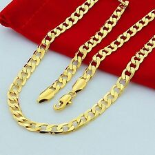24 Inches 10mm Men's Necklace Cuban Curb Chain 18k Gold Plated Jewelry
