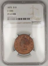 1875 $10 Liberty Copper Eagle Proof Pattern Coin  J-1446 NGC PF63 RB WW Not Gold