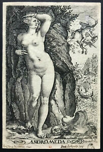 OLD MASTER print ~ ZACHARIAS DOLENDO ~ Dutch c1585 ANDROMEDA CHAINED TO A ROCK