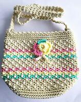 Crochet Cross Body Sling Shoulder Bag Handbag Beaded Handmade Lady Work Travel