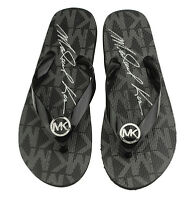 NEW Michael Kors Women's Black Jet Set Rubber Flip Flop Thong Sandals Logo Charm