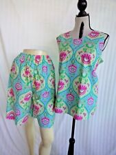 Handmade Sz 18 floral geo-print cotton x2 piece shorts set, like new, worn once