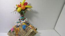 """Plastic Bahamas Souvenir Woman 12"""" Doll In Fruit & Wicker Dress ds1578"""