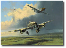Running the Gauntlet by Robert Taylor w/ 4 Pilot Signatures- Me262- P-51 Mustang