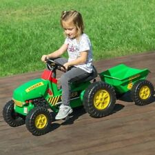 Childrens Pedal Tractor With Trailer Kids Ride On Farm Toy Age 3 +
