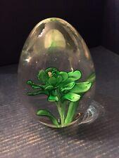 Vintage Seapoot Group Sds Emerald Green Flower Egg Paperweight - Original Label