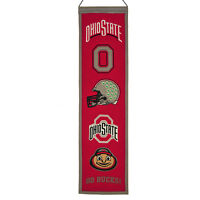 "Ohio State Buckeyes 32"" Embroidered Genuine Wool Heritage Banner NWT University"
