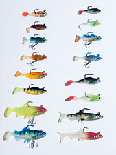 16 New In The Box Soft Plastic Bass Trout Weighted Fishing Lures Swimbait Set