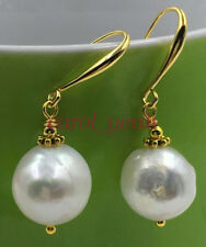 Chic AAA natural 12-13MM HUGE baroque south sea pearl earrings 18K GOLD