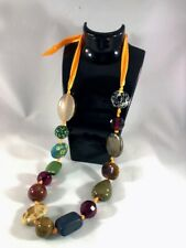 Stones Necklace different Shapes and Colors in an Orange Ribbon European Stylish