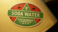 OLD AUSTRALIAN SOFT DRINK CORDIAL LABEL, TOCUMWAL CORDIALS NSW, SODA WATER 1950s