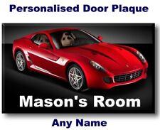Personalised Ferrari Door Name Plaque Sign bedroom boy kids child childrens dad