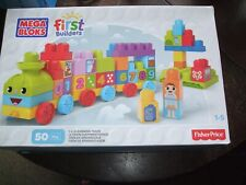 50 Pieces of Mega Bloks  First Builder Learning Train Some stickers missing
