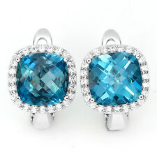 28 CTS!!! AMAZING!! NATURAL AAA CHECKERBOARD CUT LONDON BLUE TOPA 925 EARRINGS