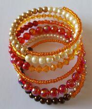 New Handmade Red Orange Brown Beaded Multi Coiled Memory Wire Bracelet Wrap