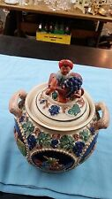 "VINTAGE GERZ Handgemalt Cookie Jar ""Scenes of Relief"" made W Germany"