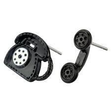 Aleación de estaño telefónico Negro Estilo Retro Negro detalle tachonado pendientes por Joe Cool