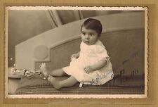 Carte Photo vintage card RPPC enfant bébé robe Yvette 1941 kh0291
