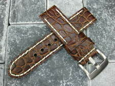 New 22mm BIG GATOR Leather Strap Brown Thick Watch Band Belt White BREITLING x1