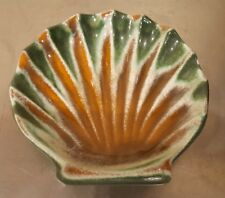 "HTF Vintage Royal Haeger Pottery USA  4 1/2"" Shell Dish ~ Green & Brown  #178"