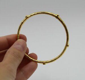 Hammered 24K Yellow Gold Diamond Circular Bangle Bracelet