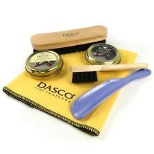 Dasco Shoe Shine Set Kit - Cleaning Cloth, 2 x Polish, 2 x Brushes, Shoehorn