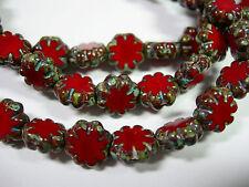 25 beads - Red Travertine Czech Glass Flower Beads 9mm